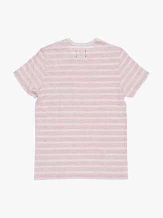 Reigning Champ Short Sleeve Pocket Tee Heather Ash/Red Stripe