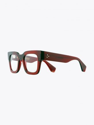 Robert La Roche + Christoph Rumpf Midnight Squared Optical Glasses Crystal Ruby Red