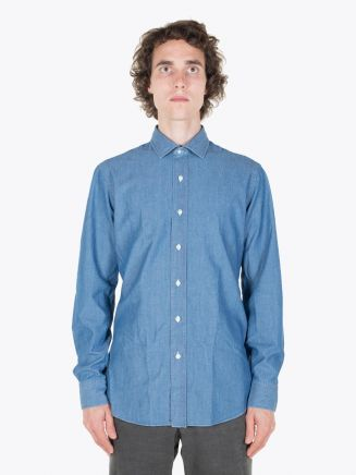 Salvatore Piccolo Slim Fit Cotton Chambray Shirt Blue