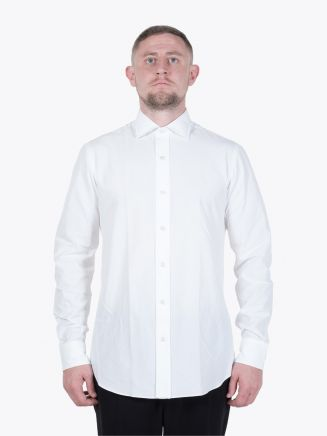 Salvatore Piccolo Slim Fit Cotton Poplin Shirt White Stone