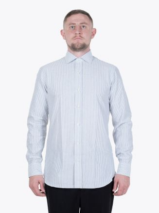 Salvatore Piccolo Slim Fit Striped Blue Cotton Oxford Shirt White