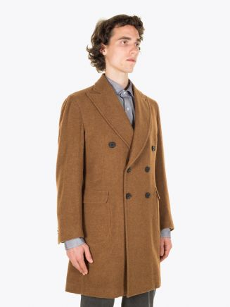 Salvatore Piccolo Unstructured Double-Breasted Wool Coat Brown