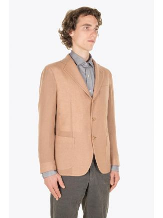 Salvatore Piccolo Unstructured Varenne Wool Blazer Sand