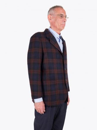 Salvatore Piccolo Unstructured Wool Blazer Prince of Wales Checked Brown / Navy Blue