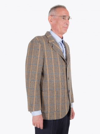 Salvatore Piccolo Unstructured Wool Blazer Prince of Wales Checked Beige / Brown
