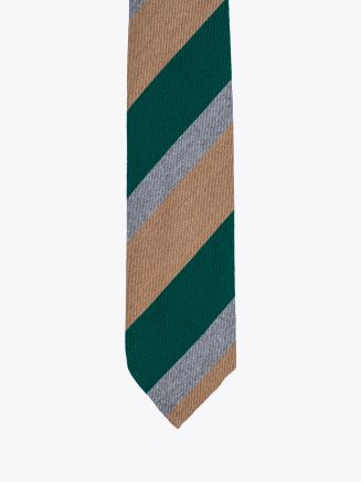 Salvatore Piccolo Ties Striped Wool and Silk Green / Camel