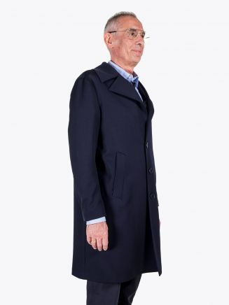 Salvatore Piccolo Wool-Blend Overcoat Navy Blue