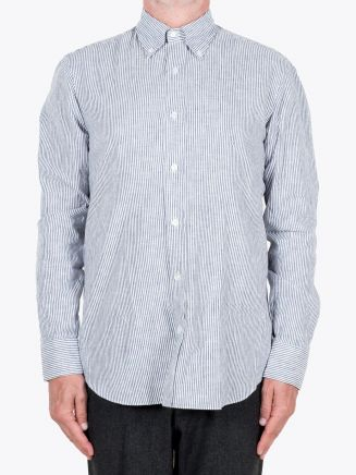Salvatore Piccolo Slim Fit Button Down Striped Oxford Shirt Indigo