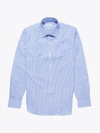Salvatore Piccolo Slim-Fit Cotton Oxford Dress Striped Navy