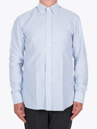 Salvatore Piccolo Slim Fit Button Down Striped Oxford Shirt Blue