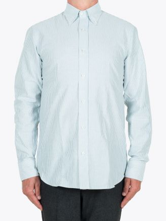 Salvatore Piccolo Slim Fit Button Down Striped Oxford Shirt Green