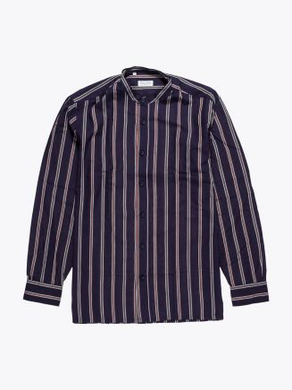 Salvatore Piccolo Grandad-Collar Shirt Striped Navy Blue