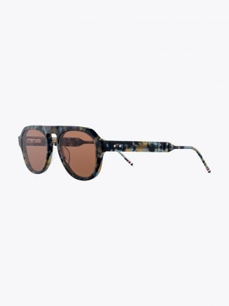Thom Browne TB-416 Aviator Sunglasses Navy Tortoise