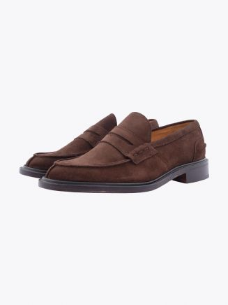 Tricker's James Penny Loafer Repello Suede Chocolate