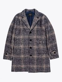 Paltò Single-Breasted Covert Coat Navy Blue / White / Brown 1