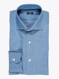 Barba Napoli Shirt Cutaway-Collar Cotton Chambray Blue 1