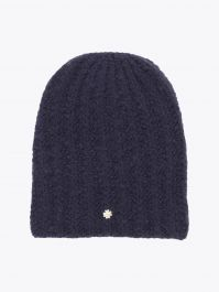 Lali Piumosa Beanie Ribbed Cashmere Navy Blue with Quatrefoil Silver 1