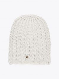 Lali Piumosa Beanie Ribbed Cashmere White with Quatrefoil Silver 1