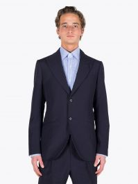 Maurizio Miri Keanu Full Canvas Wool Suit Jacket Navy Blue 1