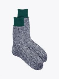 Ro To To Double Face Socks Silk & Cotton Green / M. Navy 1