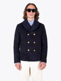 Sealup Men's Double Breasted Cotton Ulisse Peacoat Navy Blue 1