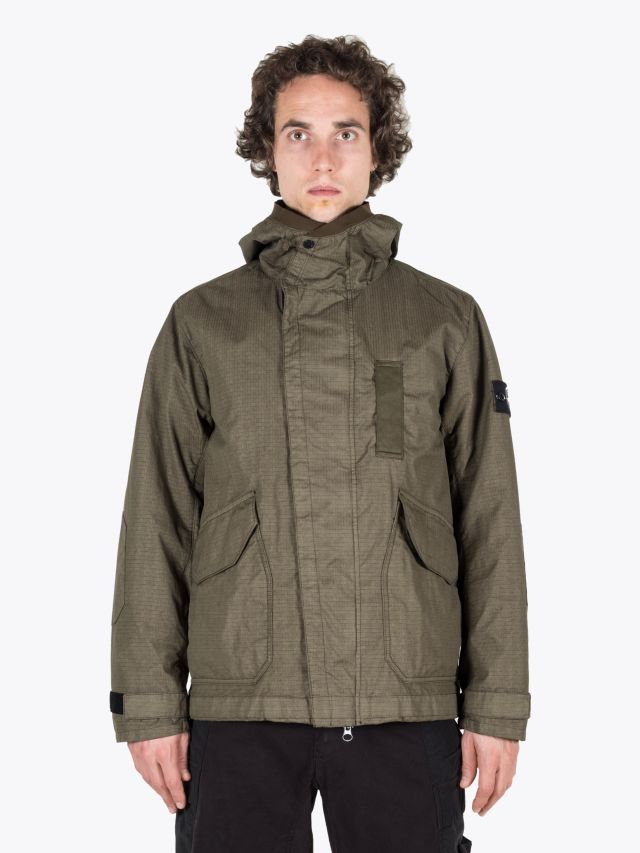 Stone Island 43999 Reflective Hooded Jacket Olive 1