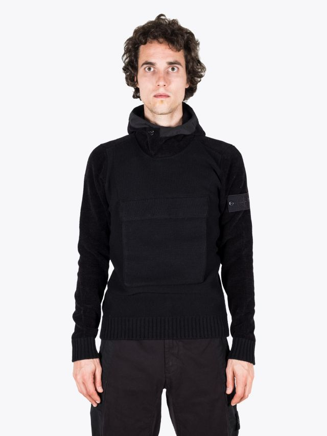 Stone Island 593FA Ghost Piece Hooded Knit Black 1