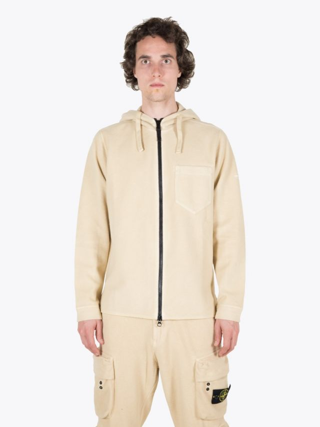 Stone Island 62940 Hooded Full-Zip Sweatshirt Natural Beige 1