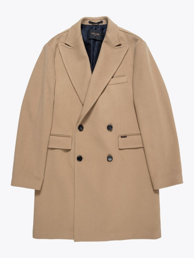 Paltò Double-Breasted Covert Coat Camel 1