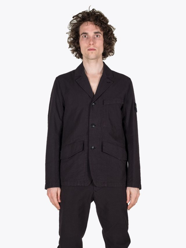 Stone Island 80141 Seersucker CO-TC Suit Black 1
