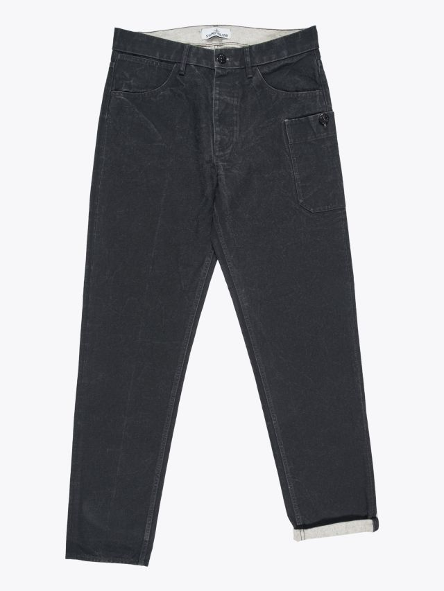 Stone Island J04J1 Panama Placcato RE-T Pants Black 1