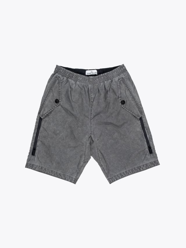 Stone Island L0299 Plated Reflective Dust Colour Finish Bermuda Short Grey 1