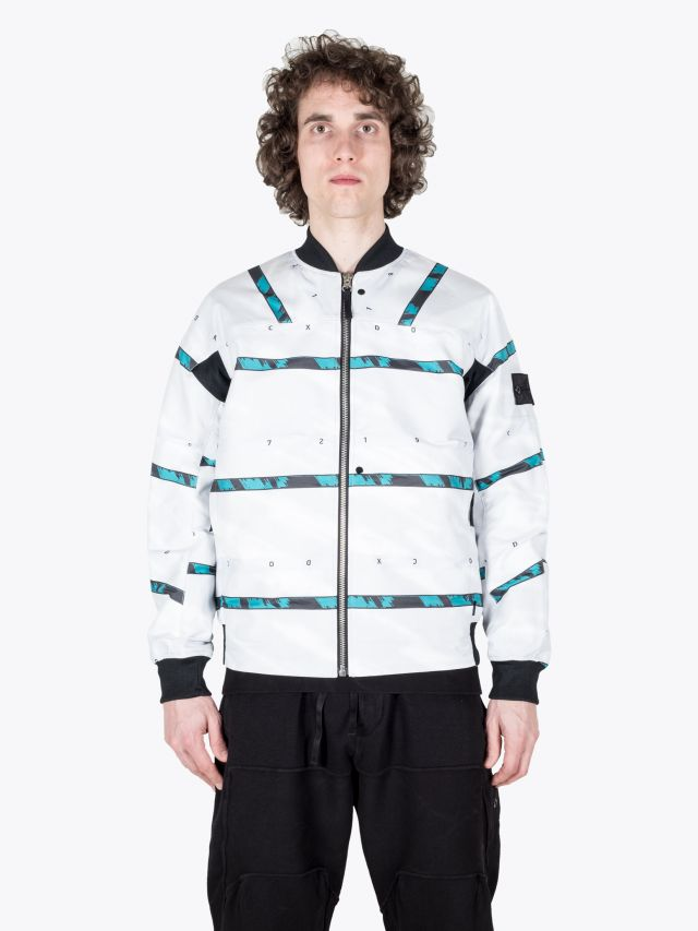 Stone Island Shadow Project 40812 DPM Chinè Jaquard Bomber Jacket White 1