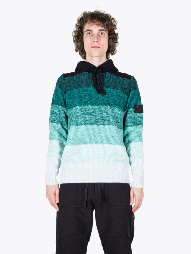 Stone Island Shadow Project 501A4 Gradinet Hooded Knit Emerald 1