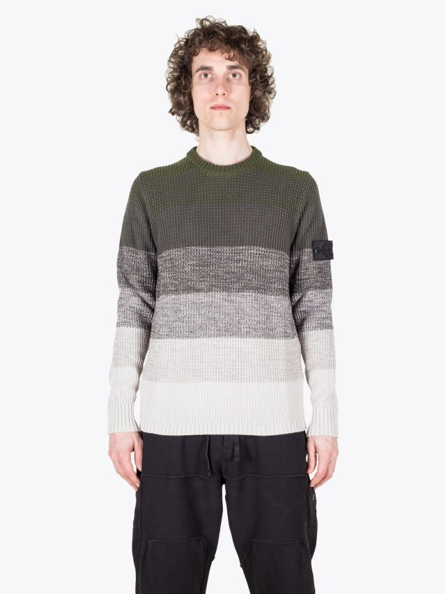 Stone Island Shadow Project 507A4 Gradinet Crew-Neck Knit Olive Green 1