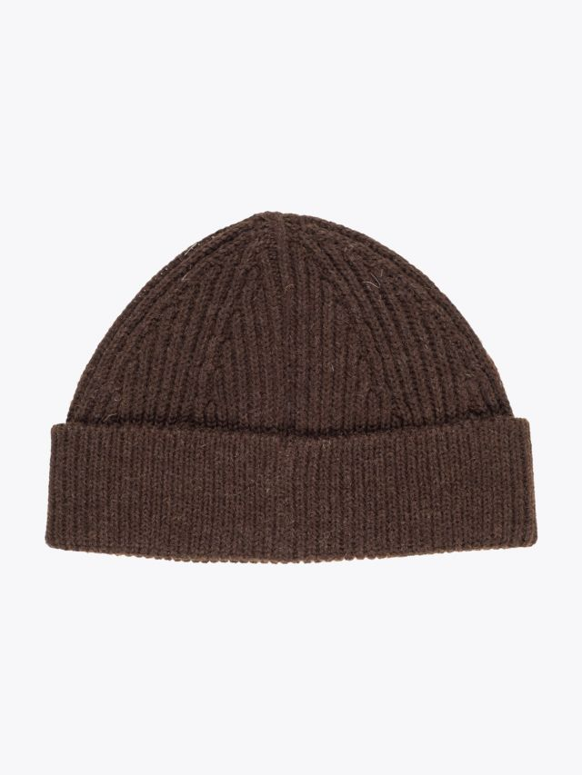 Andersen-Andersen Wool Short Beanie Natural Brown 1