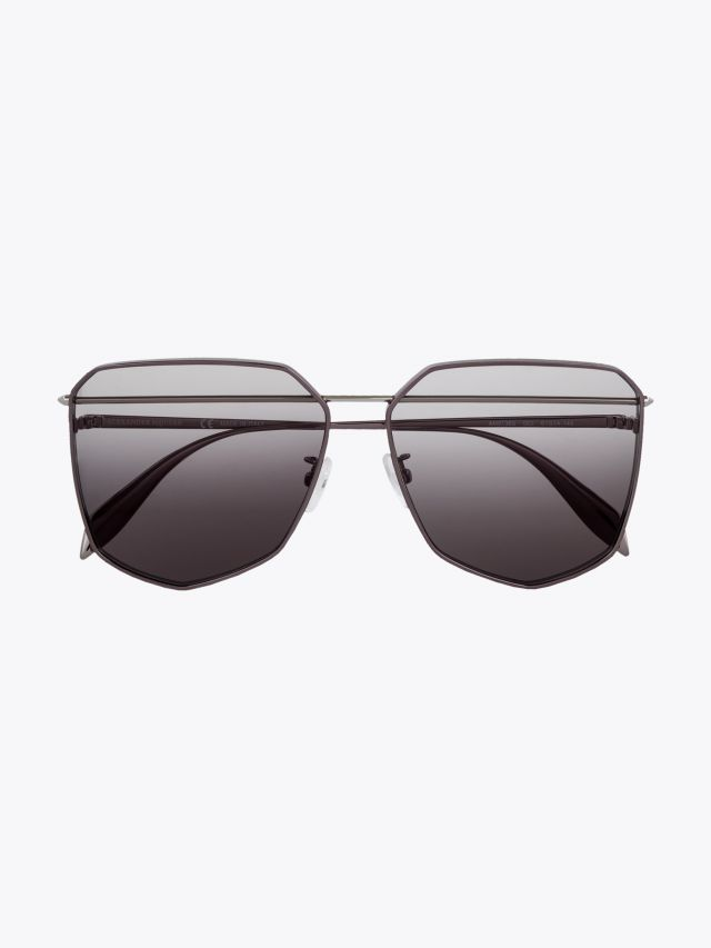 Alexander McQueen Metal Shield Piercing Frame Sunglasses Ruthenium 1
