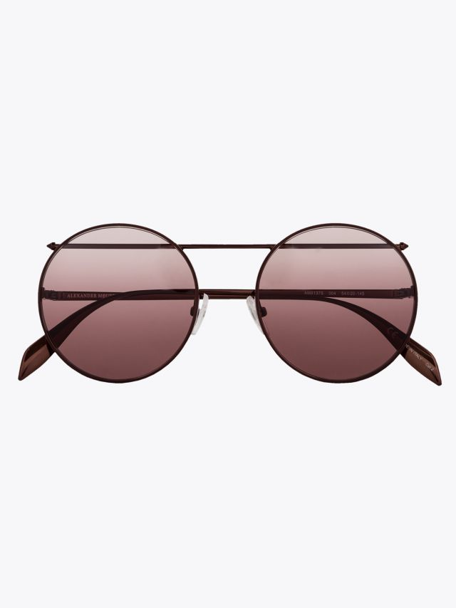 Alexander McQueen Sunglasses Metal Round Piercing Frame Brown 1