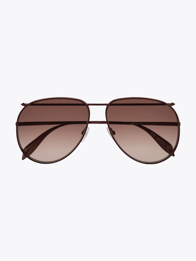 Alexander McQueen Metal Aviator Piercing Frame Sunglasses Brown 1