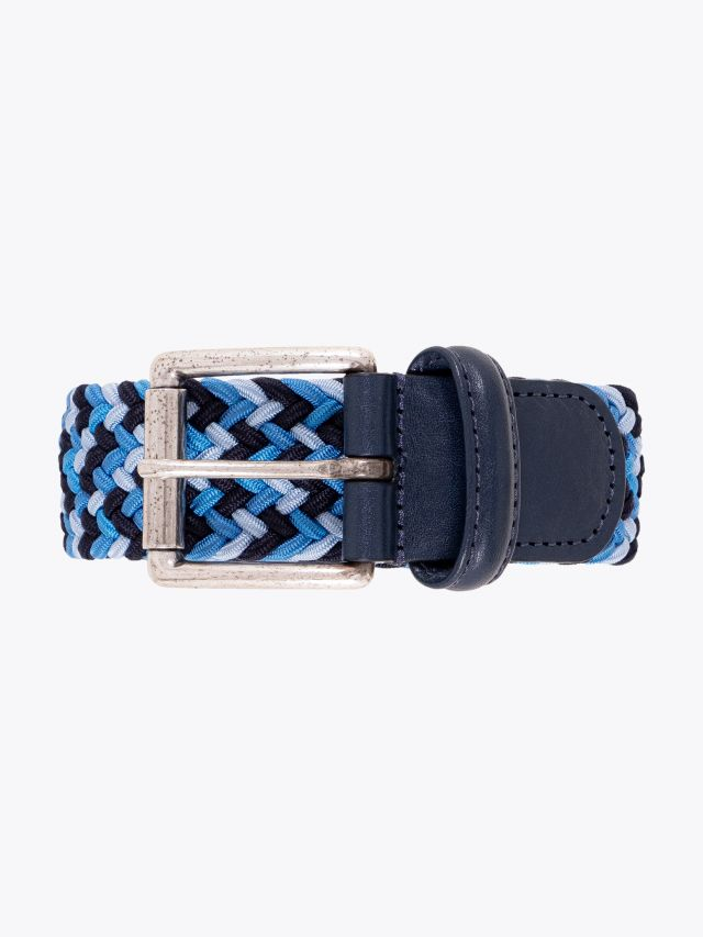 Anderson's Leather-Trimmed Elasticated Belt Sky-Blue-Navy Front View