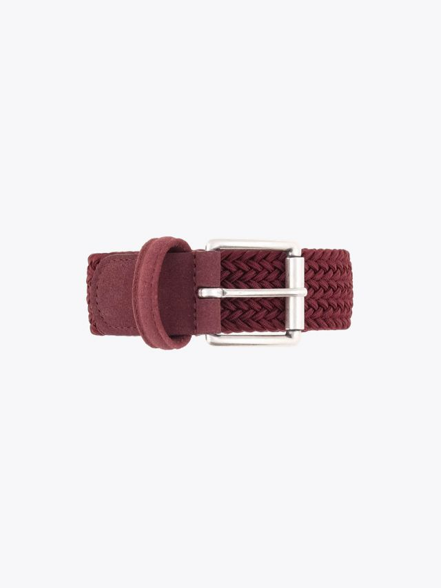 Anderson's Suede-Trimmed Elasticated Woven Belt Claret Front