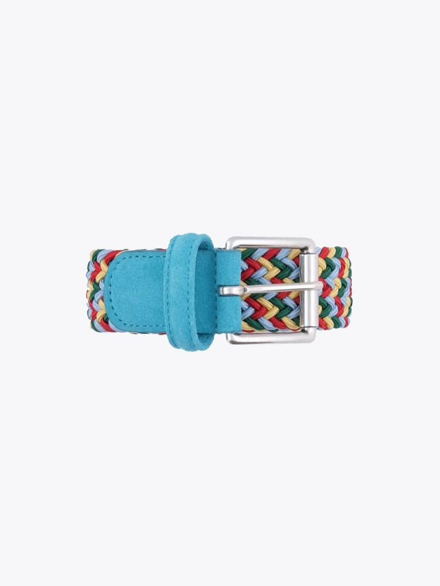 Anderson's Suede-Trimmed Elasticated Woven Belt Multicolor 46 Front