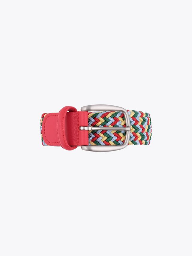 Anderson's Belt Braided Nylon/Leather Red/Green/Yellow/Blue Front