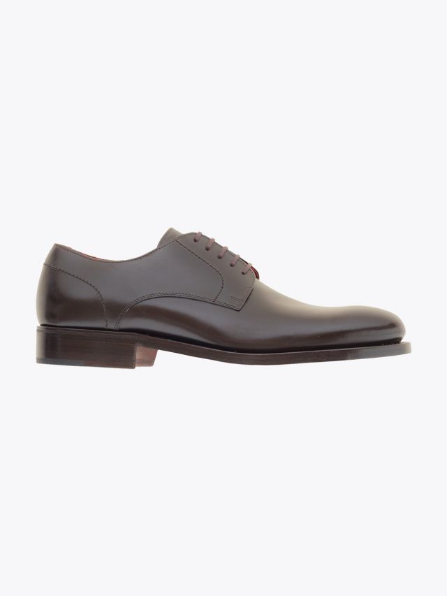 Alexander 1910 French Box Calf Leather Derby Shoes Dark Brown 1