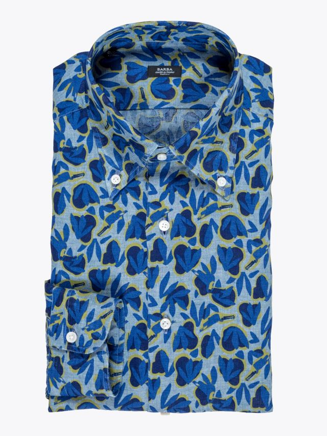 Barba Napoli Shirt Button-Down Collar Floral-Print Linen Blue 1