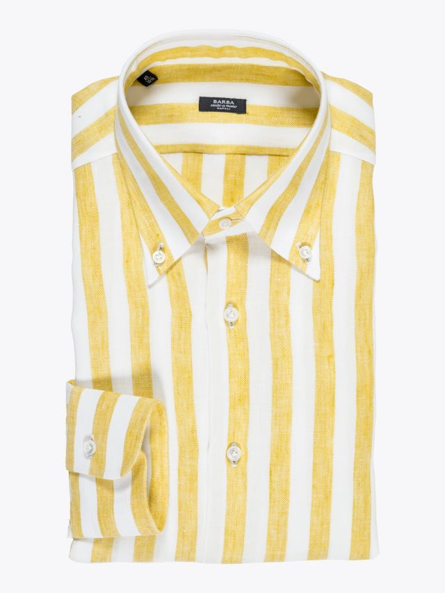 Barba Napoli Shirt Button-Down Collar Striped Linen Yellow 1