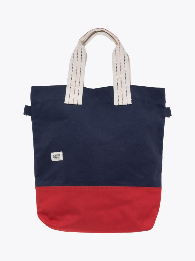 BLK Pine Workshop | Canvas Tall Tote Bag Navy Red Front