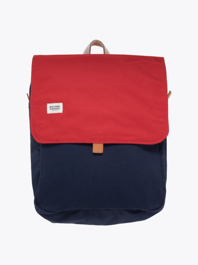BLK Pine Workshop | Leather/Canvas Box Pack Bag Navy Red Front