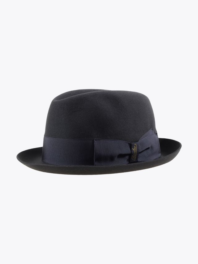 Borsalino Hat Small-Brimmed Alessandria Rabbit-Felt Anthracite Dark Grey 1