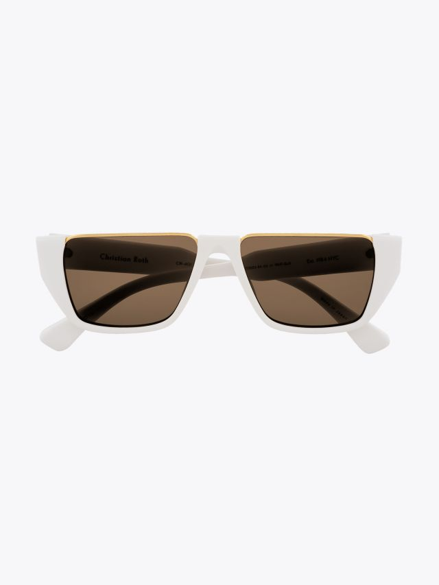 Christian Roth CR-401 Sunglasses White / Yellow Gold 1